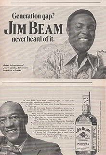 Magazine Print Ad: 1971 Jim Beam Kentucky Straight Bourbon Whiskey, Rafer Johnson and Jesse Owens,