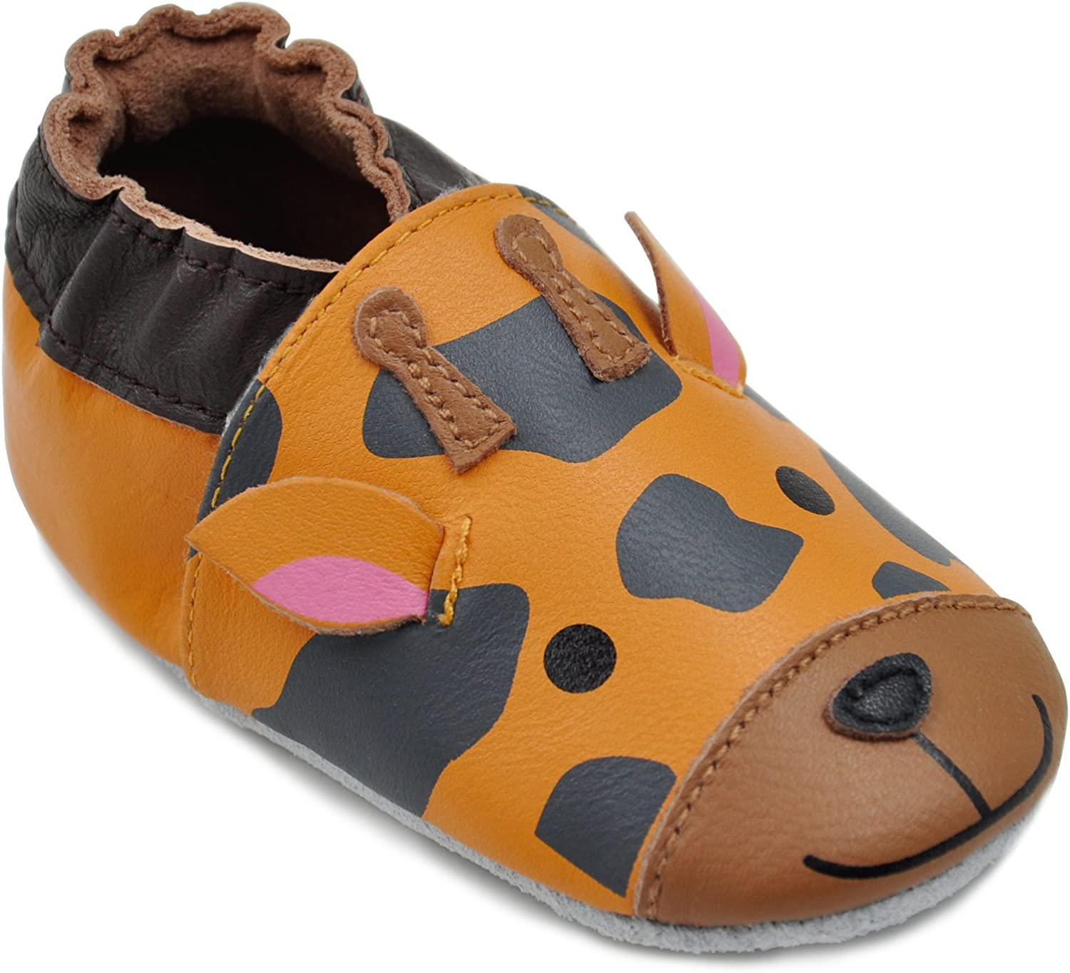 Kimi Kai Baby Unisex Lambskin Leather Soft Sole Shoes Giraffe