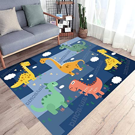 Childrens Rug Play Mat Nursery Educational Pre School Dinosaur Kingdom Blue Large Scale Game Kids Bedroom Living Room Decor Carpet 80 150cm Amazon Co Uk Baby