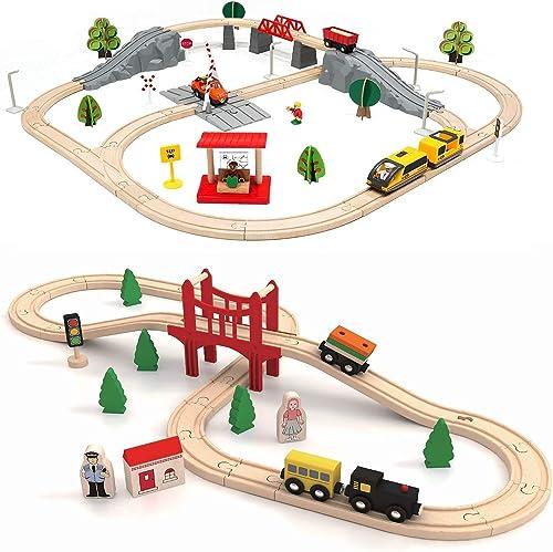 popular Tiny Land 39 PcsToy Train Set popular + 74 Pcs Wooden-Train-Set-Toys & Battery outlet online sale Locomotive &Station outlet sale
