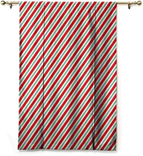 Lifable Curtain Candy Cane,Bicolor Stripes and Lines Festive Traditional Design Seasonal Pattern, Red Fern Green White,48