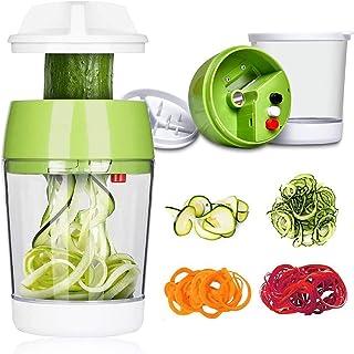TOCYORIC Coupe Légumes Spirale avec Boîte, 5 en 1 Spiraliseur de Légumes Spiralizer Legume Spaghetti Mandoline Cuisine, Tr...