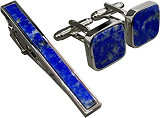 1cbf17fb7fea Blue Aspen Lapis Stone Tie Clip & Cufflinks Set - Low Profile Tie Bar - 2