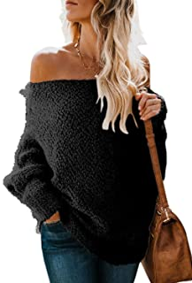 ZKESS Womens Casual Long Sleeve Off The Shoulder Loose Knit Pullover Popcorn Sweater Tops