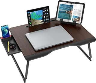 Laptop Desk for Bed, SAIJI XX-Large Foldable Bed Tray Table for Eating Breakfast, Writing, Working, Gaming, Drawing with S...