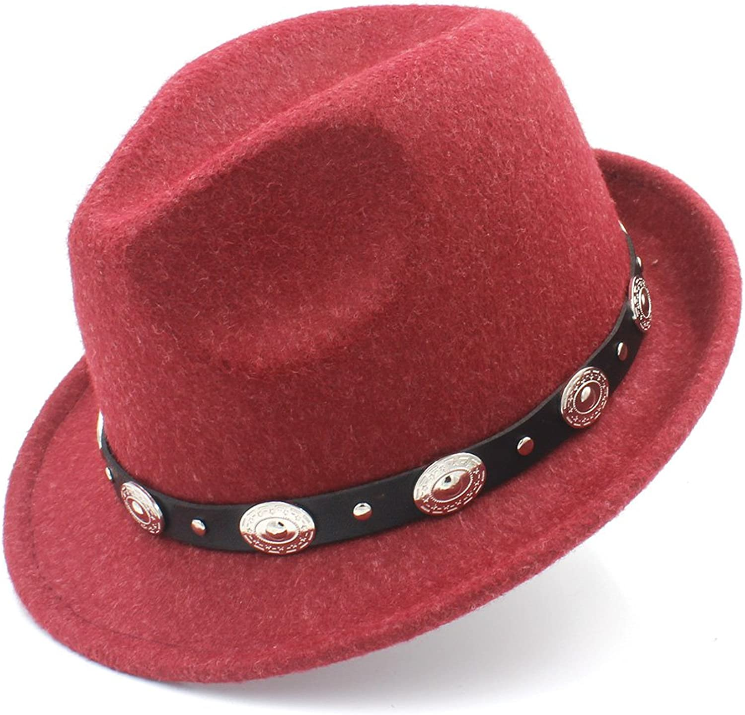 100% Wool Women Men Fedora Hat for Winter Autumn Elegant Lady Dad Trilby Homburg Church Jazz Caps with Punk Belt Size 5658CM