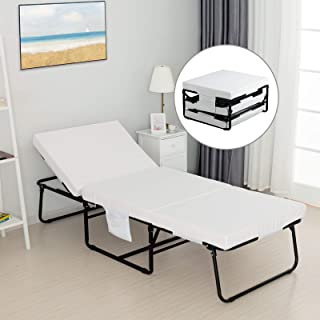 mecor Foldable Folding Bed, Rollaway Guest Bed with 3.2 Inch Removable Mattress & Side Pocket - Heavy Duty Metal Frame with Adjustable Head Incline(0°-175°)-No Assembly Required-Twin Size