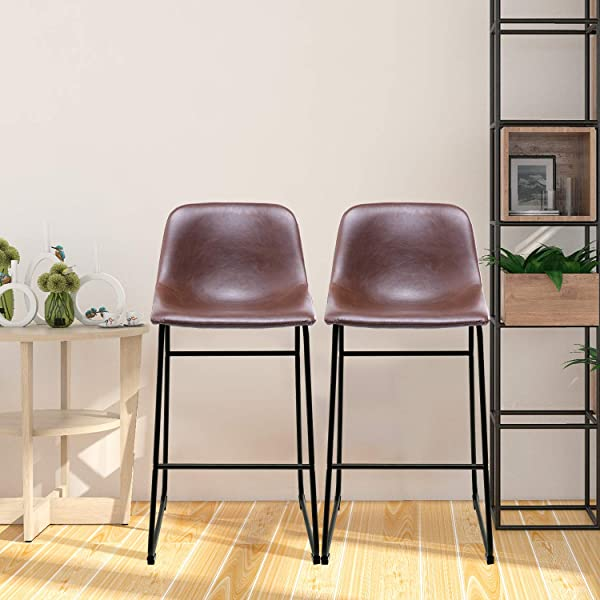 5Rcom PU Leather Bar Stools Set Of 2 Dining Chairs Barstools With Back And Footrest Antique Brown For Dining Room And Kitchen