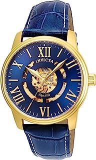 ساعة انفيكتا اوجت دي ارت أوتوماتيك للرجال مع حزام جلد ربجل - ازرق، 22 (22601)