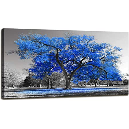 Amazon Com Wall Art Painting Contemporary Blue Tree In Black And White Style Fall Landscape Picture Modern Giclee Stretched And Framed Artwork 24inchx48inch Posters Prints
