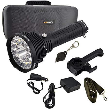 Acebeam X70 60,000 Lumens Rechargeable Flashlight Bright Light High Power LED Searchlight bundle with a Lumintrail Keychain Light