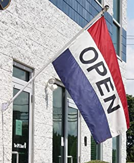 3x5 Open for Business Flag Kit Includes Flag, Pole, & Angled Mounting Kit House Banner Grommets Double Stitched Metal Eyelets For Hoisting Fade Resistant Premium Quality