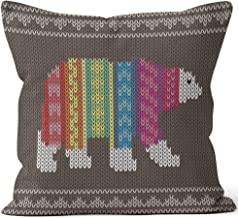 Nine City Polar Bear Wearing Sweater on The Knitting Pattern Home Decorative Throw Pillow Cover,HD Printing Square Pillow case,36
