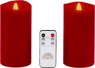 Gift Package 2 Pieces Red Flameless Candles Flickering Flame Effect Real Wax (D 3