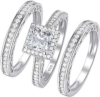 Wuziwen Women's Engagement Rings Wedding Ring Set 925 Sterling Silver Princess White Cz Size 5-12