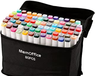 Memoffice 80 Colors Dual Tips Alcohol Markers, Art Markers Set for Kids Adults, Alcohol Based Markers with Carrying Case for Anime Design, Painting, Highlighting, Great Christmas Gift Idea