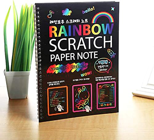 Asian Hobby Crafts Rainbow Art Scratch Paper Book Sheets with Stylus, 10 Pages: Pack of 1pc : Size 8 X 5 inches