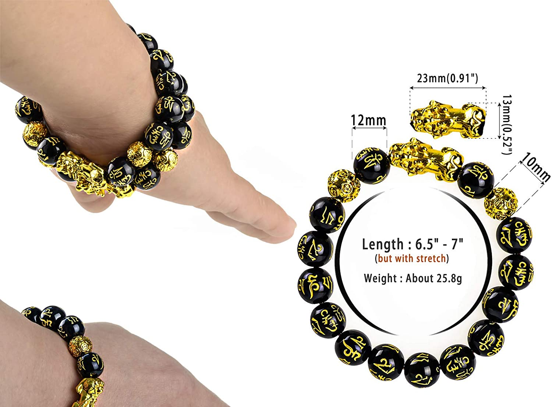 2 Pieces Feng Shui Bracelets Mantra Amulet Bead Bracelets with Gold Plated Pi Xiu//Pi Yao for Women Men Adjustable Elastic Good Luck Wealt