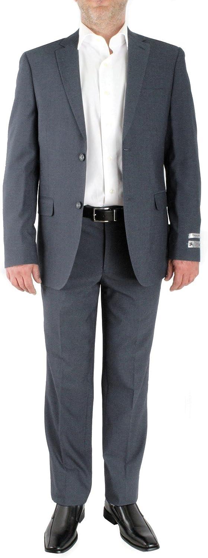 PAOLO GIARDINI Slim Fit Two Piece Men's Suit Birds Eye Pattern 2 Button Side Vents Flat Front Pants (40 Long US Jacket X 34 Waist Pants, Grey)