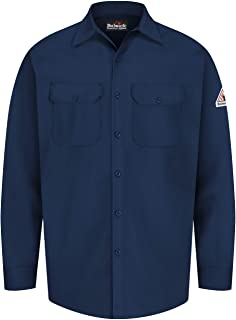 Bulwark Men's Flame Resistant 7 Oz Cotton Work Shirt with Sleeve Vent