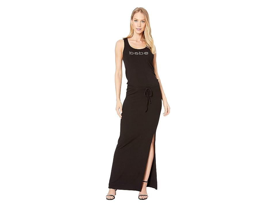 Bebe Cinch Waist Logo Maxi Dress (Jet Black) Women