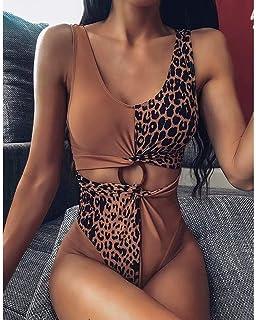 Women's One-Piece Swimsuit Leopard Print Stitching Hollow Bikini Suitable for Swimming Pool/Spa/Water Park Etc,Khaki (M)