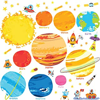 Decowall Planets and Space Kids Wall Decals Wall Stickers Peel and Stick Removable Wall Stickers for Kids Nursery Bedroom Living Room(1707 8017) Small_8017 Multi
