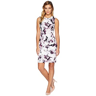 Calvin Klein Print Sheath Dress w/ Seams (Aubergine/Black) Women