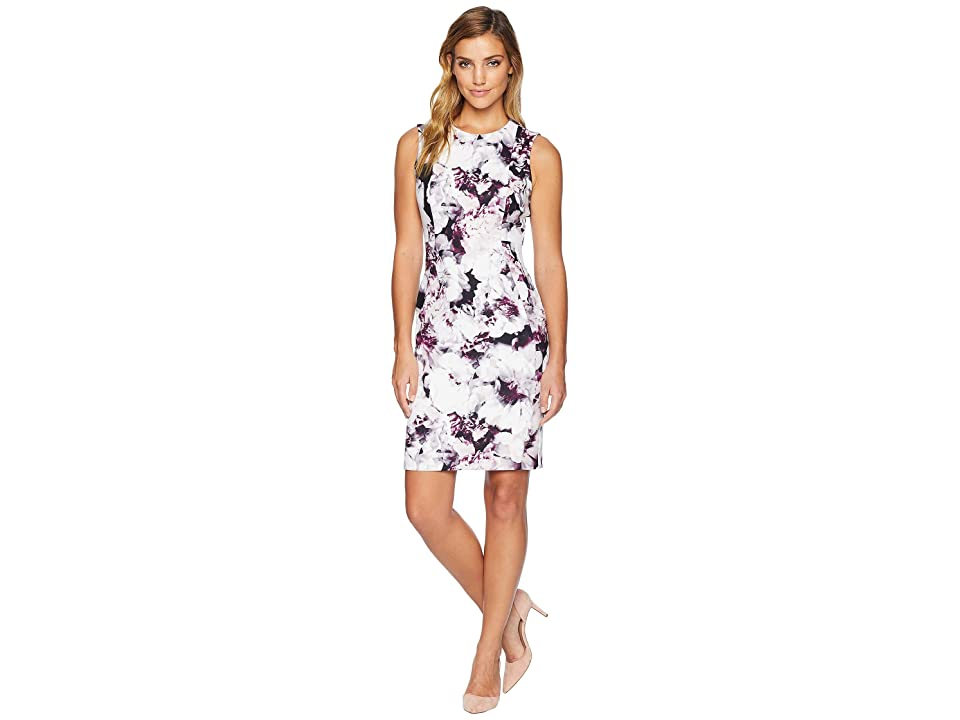 Calvin Klein Print Sheath Dress w/ Seams (Aubergine/Black) Women