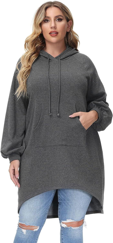 Women Long Sleeve Hoodie Sweatshirt Dress Plus Size Fleece Pullover Dress with Pocket