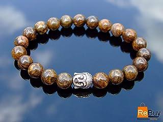 REBUY® Buddha Bronzite Natural Gemstone Bracelet Beaded 6-9'' Elasticated Healing Stone Chakra Reiki