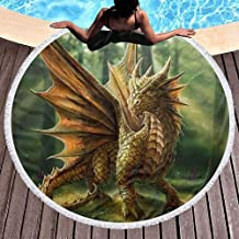 W-wishes Toalla de Playa Redonda, Anne Stokes Dragon Hippie Happy Youth Towel Manta a Prueba de Arena Extra Grande Colchoneta de Yoga con borlas