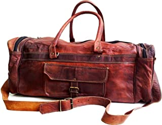 "26"" Leather Travel Duffel Bag for Men Large Gym Sports Weekend Duffle Bag Handmade Vintage Distressed Leather Luggage Handbag Overnight Carry On Tote Bag for Men Women"