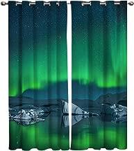 Edwiinsa Alaska Kitchen Curtains Window Drapes Treatment, 2 Panels Set for Kitchen Cafe Office Sliding Door, Aurora Borealis Under The Starry Sky Hills of Arctic Northern Landscape 80W x 63L inch