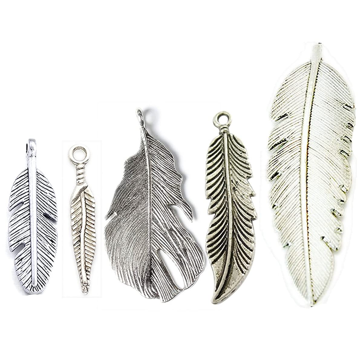 Beadthoven 10pcs Alloy Leaf Pendants Tibetan Style Charms for DIY Crafts Jewelry Making Accessories Alloy Necklaces Pendants Lead Free Mixed Shaped