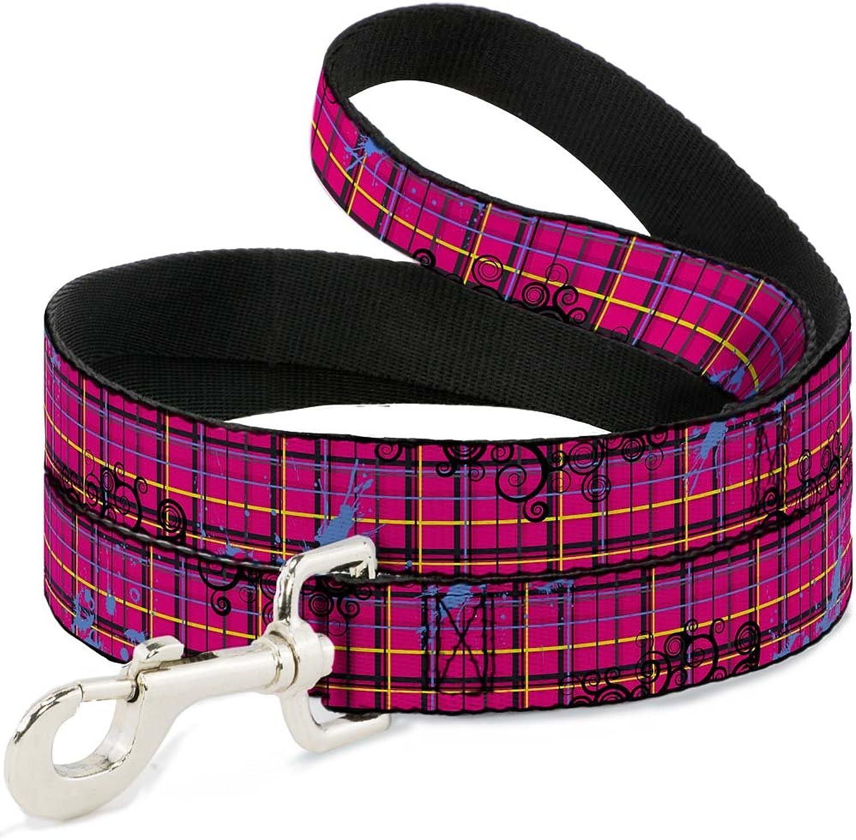 BuckleDown DLW31651N Narrow 0.5  Plaid Curls Pink Black Yellow bluee Dog Leash, 4'