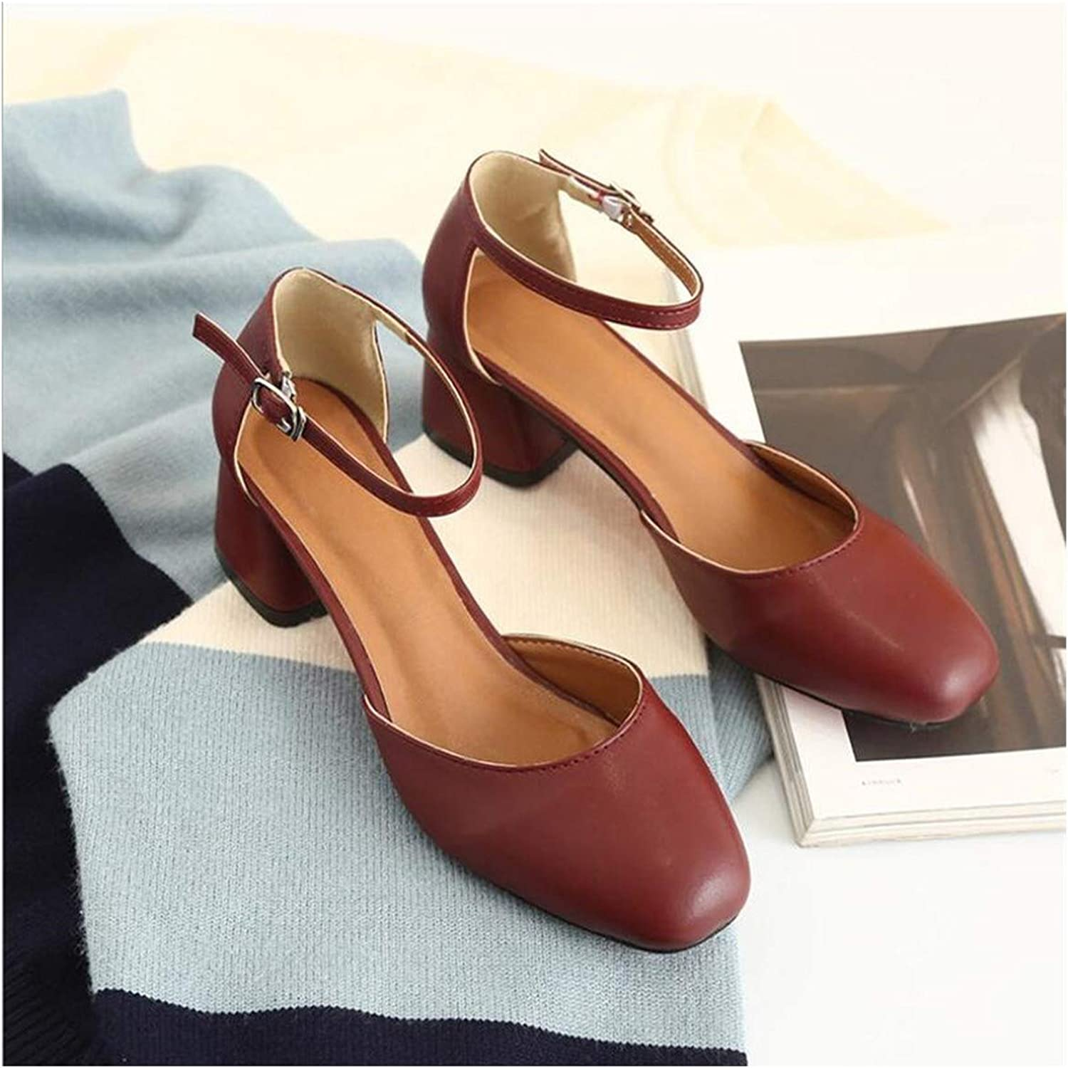 Lu Studio Square Mid Heel Square Pumps shoes Spring Summer Leather Ankle Buckle Shallow Mouth Sandals 5Cm