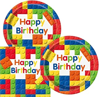 GulfDealz Building Blocks Birthday Party Plates and Napkins (Serves 32 Persons)