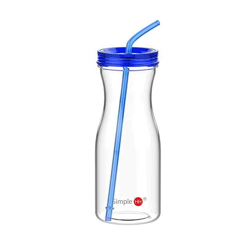 Simple HH Tritan BPA-Free Water Bottle with Straw 33oz Dishwasher-Safe Drinking Tumbler   Extra Wide Mouth w/Easy Twist Lid