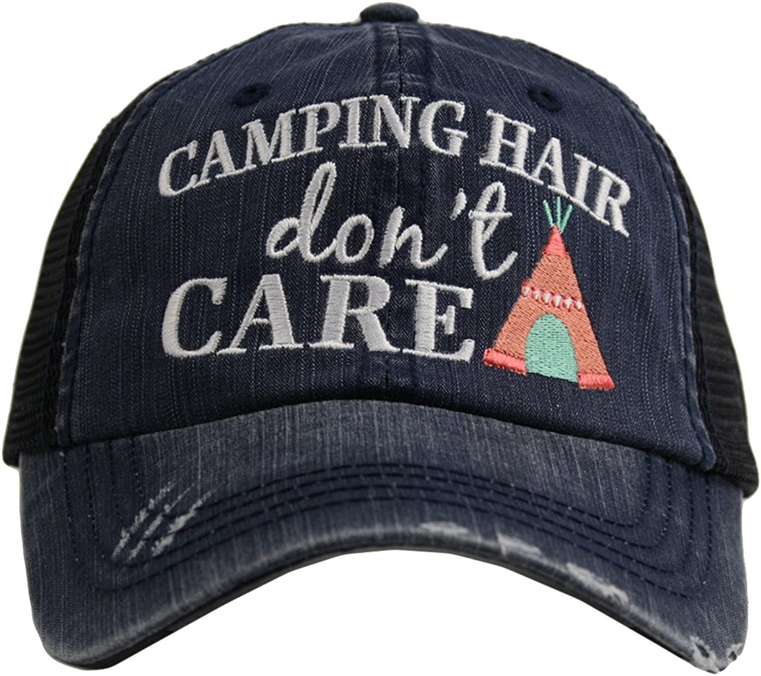 Embroidered Camping Hair Don't Care Vintage Style Grey Trucker Cap Hat
