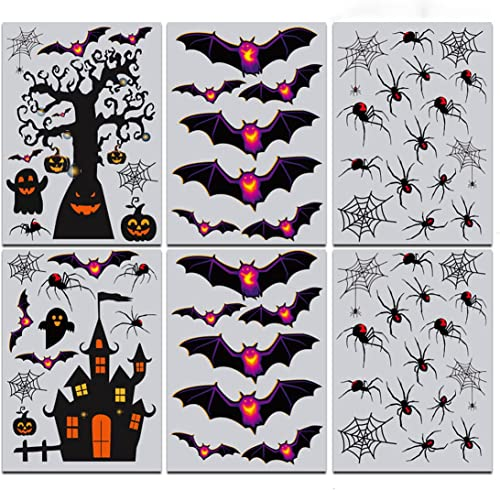 discount Halloween Window Decals - outlet online sale Bat&Spider&Haunted House Pattern Halloween Wall Stickers online Removable Window Clings for Kid's Bedroom Home Decoration online sale