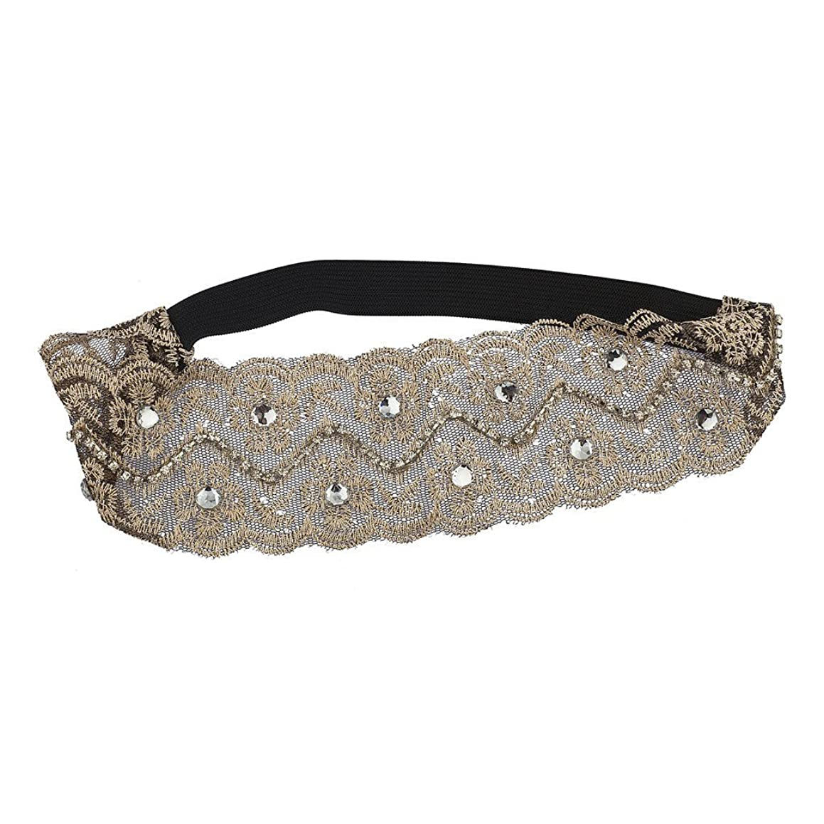 Lux Accessories Nude Mesh Embroidered Lace and Glitz Head wrap Stretch Headband d41967822949