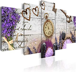 Extra Large Heather Composition Sweetheart Abstract Wall Art Purple Canvas Print Painting 5 Panel Modern Picture Artwork