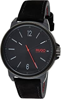 Hugo Boss Men's Black Dial Black Leather Watch - 1530067