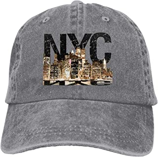 New York Nightscape Cowboy Cap Unisex Adjustable Trucker Baseball Hats Gray