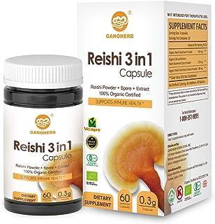 GANOHERB Organic 3 in 1 Reishi Capsules with 100% Ganoderma Lucidum Powder + Spore+ Extract for Boost Immune System,Vegan,...