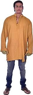 Lakkar Haveli Indian 100% Cotton Gold Color Men's Kurta Shirt Tunic Loose Fit Plus Size