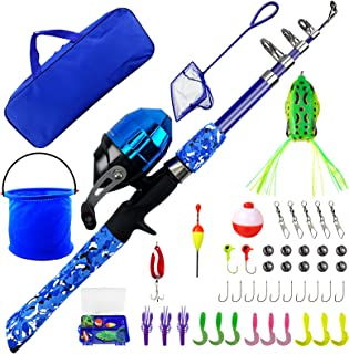 WIDDEN Kids Fishing Pole Full Kits Portable Telescopic Fishing Rod and Reel Combos with Tackle Box, Travel Bag for Girls, ...