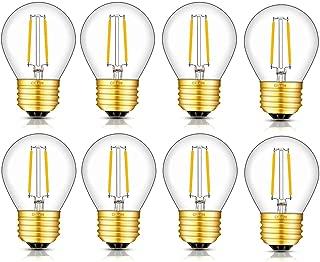 CRLight 2W Edison LED Globe Bulb 3000K Soft White 30W Equivalent 300LM Dimmable, E26 Medium Base G14(G45) Tiny Globe Light Bulbs for Chandelier Ceiling Fan Bathroom Vanity Mirror, 8 Pack