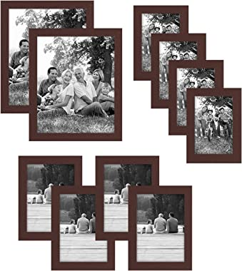 Americanflat Picture Frame in Mahogany MDF with Shatter Resistant Glass - Horizontal and Vertical Formats - Various Dimensions - Pack of 10